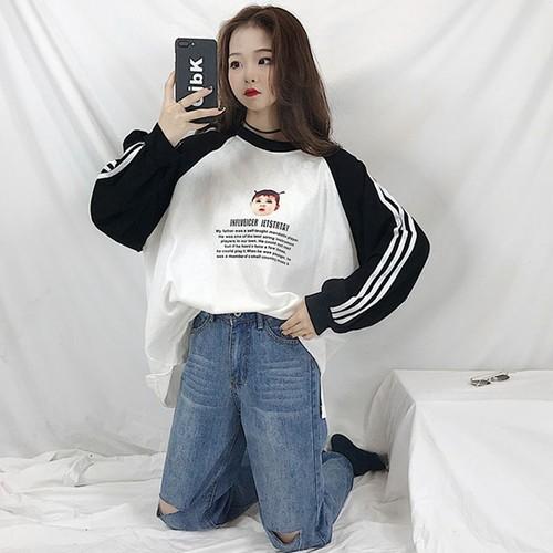 【トップス】カジュアル韓国系アルファベット切り替え長袖Tシャツ23803787