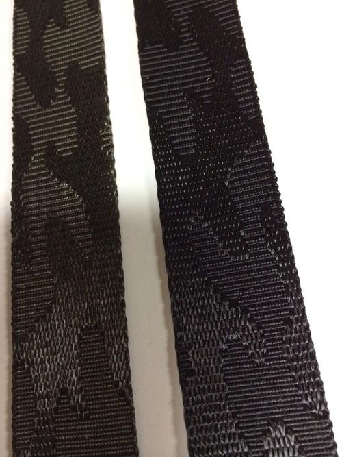 ナイロンテープ  ジャガード織 迷彩柄 30mm幅 黒/カーキ 5m単位
