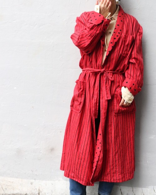80's Red cotton gown
