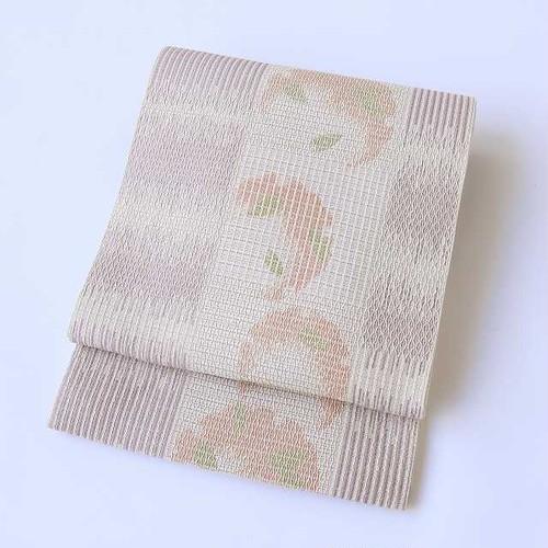 1646 泥染め紙布錑り織◆洒落袋帯