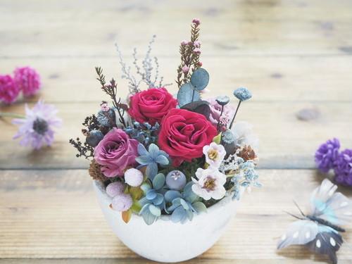 受注制作 Botanique Rose Chic *ボタニカル花庭アレンジ プリザーブドフラワー 花