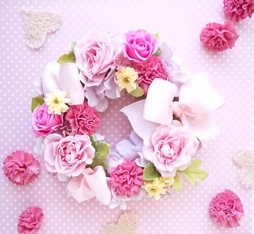 ローズとリボンのリース(ピンク)