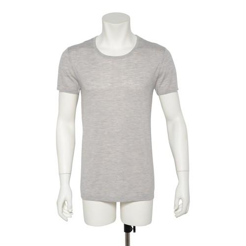 カシミヤ100%クルーネック半袖シャツ ライトグレー メンズニット 柔らかく暖かい