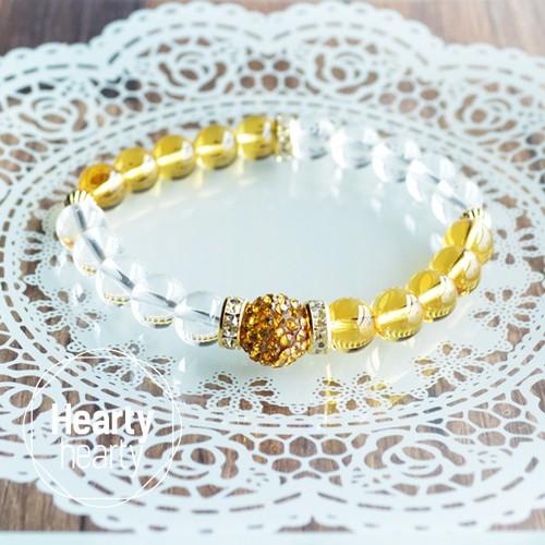 【LADYLIKE Yellow×Clear】パワーストーン ブレスレット レディース 天然石 シトリン 水晶[送料無料]