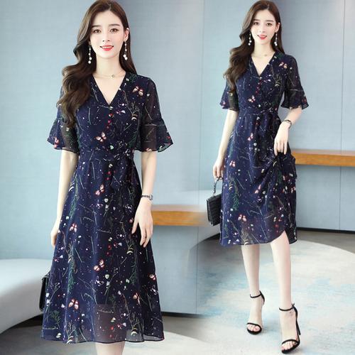 【dress】売り切れ必至エレガントVネックフェミニン花柄ワンピース着心地良い