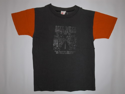 90's G-Tees DAYTONA BIKE WEEK Harley-Davidson T-Shirts(黒×オレンジ)