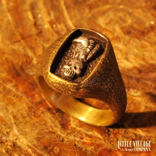"""Vulture & Skull"" Ring / Brass x Silver 925"