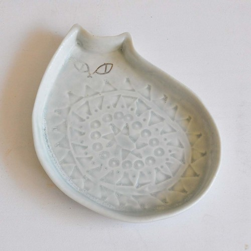 庄司千晶 猫のお皿 大(008-BLUE-A)
