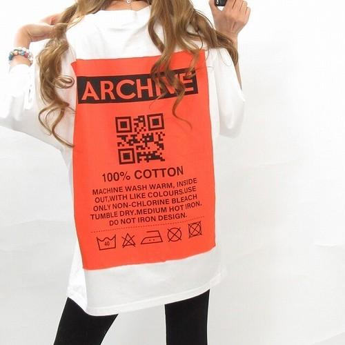 ストリート バックロゴ&ワッペン QR BIGTシャツ オーバーサイズ ホワイト
