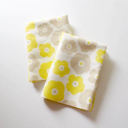 【カットクロス】 popy (yellow-baige grey)リネンコットン ファブリック(幅67cm×長さ50cm)