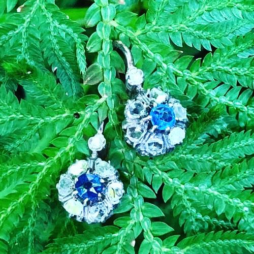 Sapphire & Rosecut Diamond Earrings