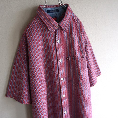 1990's [TOMMY JEANS] S/S シアサッカーシャツ 表記(XL) トミーヒルフィガー