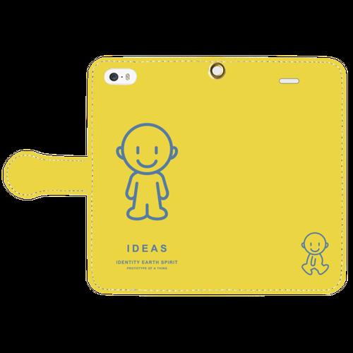 IDEAS/iPhone5/5s/SE手帳型ケース 803-イエロー