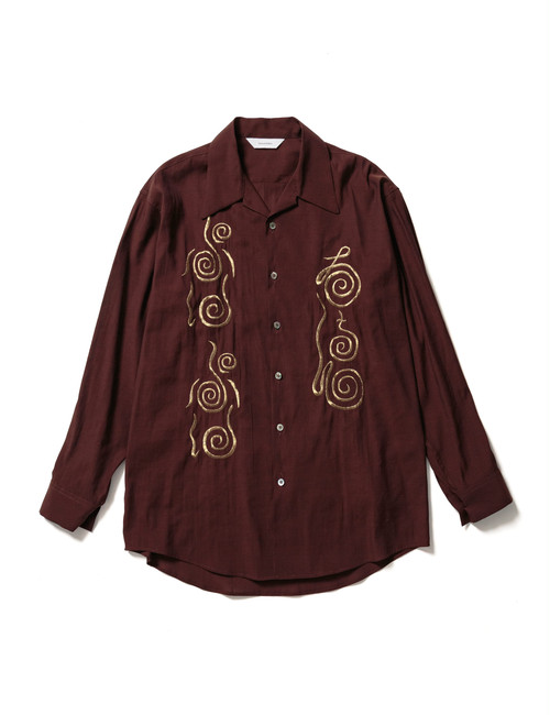 """CHICHIN-PUI-PUI"" OPEN COLLAR BIG SHIRT -DARK BROWN- / Sasquatchfabrix."