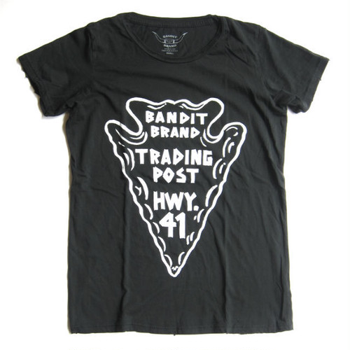 "Bandit Brand ""Bandit Town Trading Post"" Womens Vintage Tee#WT-Tpost,black"