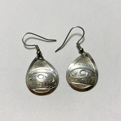 First Nations Hand Carved Sterling Pirced Earrings Made By Don Lancaster (Killer Whale Motif)
