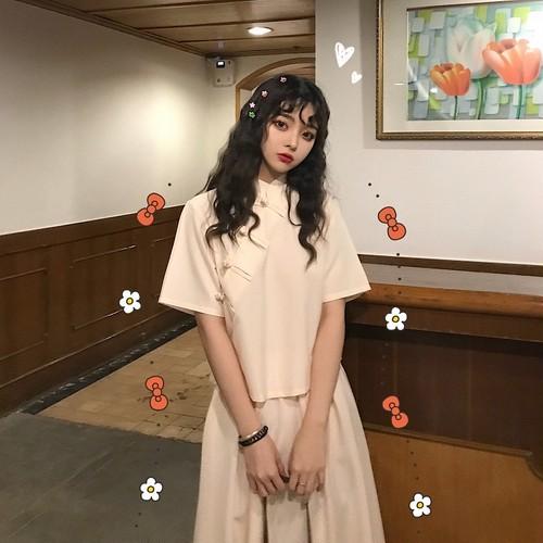 【送料無料】 チャイナ風コーデ♡ セットアップ ミモレ丈 スカート スタンドカラー シャツ 半袖