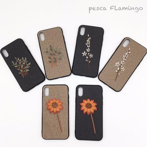 花 刺繍 和風 iPhone ケース(商品管理番号:BA10)