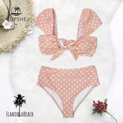 【FlamingoBeach】dot high west bikini ハイウェストビキニ
