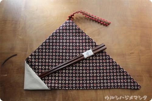 【セット販売】漆の箸+箸袋(白+着物小花) / [SET SALE] CHOPSTICKS & REVERSIBLE CHOPSTICKS BAG(Kimono・flowers)