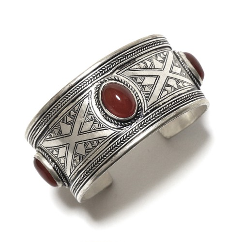 Vintage African Tuareg Silver & Three Carnelian Bangle