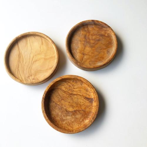松野屋 チェニジア製オリーブ木 ラウンドプレート12㎝