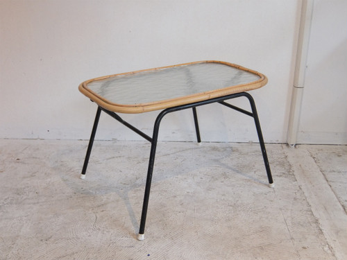 60's Holland Vintage Rattan Low Table