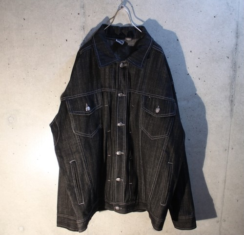 Oversized black denim jacket