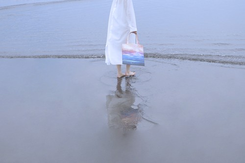 【森道・トート】空と海を描いた、メッシュ素材のトートバック