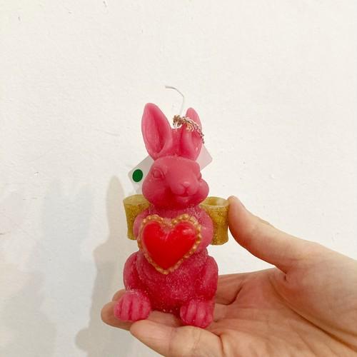 【midori_candle】天使うさぎキャンドル(ハート)ローズ
