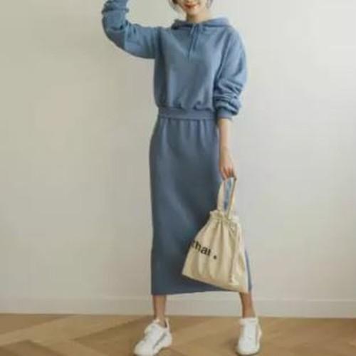 ワンピースドレス スウェット フード付き スウェットワンピ リボン 長袖 ゆったり カジュアル 無地 大人可愛い 3色展開 ブルー/ブラック/グレー
