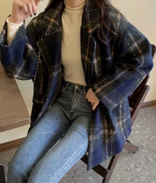 全2色♡ 大人レディのチェック柄ウールジャケット♡