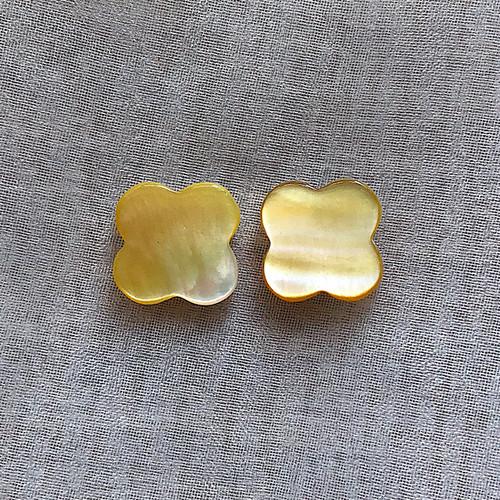 黄蝶貝 シェルクローバー ゴールドピース 12mm 2粒 ペア