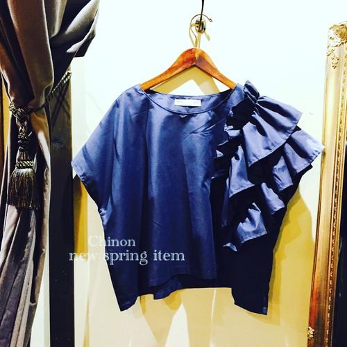 Chinon original clothes  ネイビーフリルブラウス