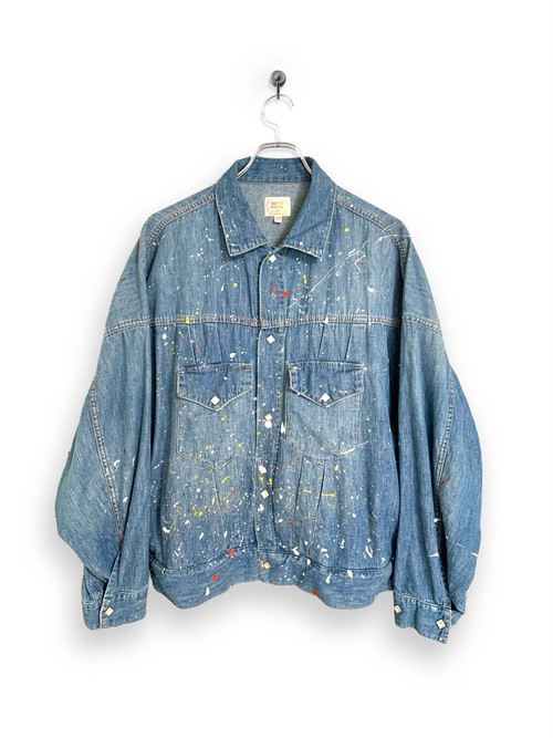 6.5oz Denim Western Short Jacket / vintage paint