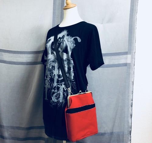 国産帆布Wポケットショルダー(紅×黒)/送料無料