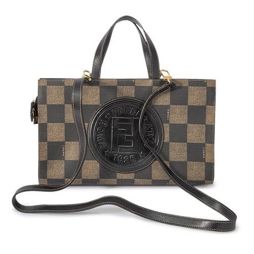 FENDI/フェンディ ブロックチェック ロゴ2WAYバッグ ブラック×ブラウン(P13060)