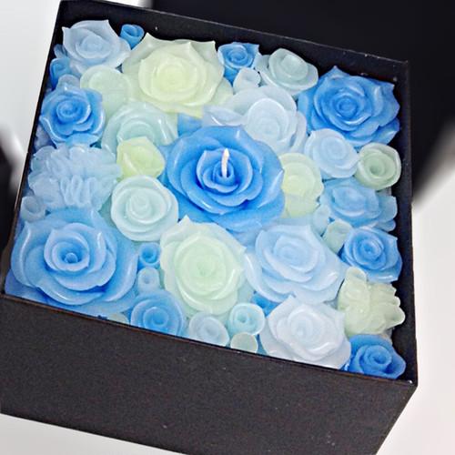 フラワーBOXキャンドル(ブルー)