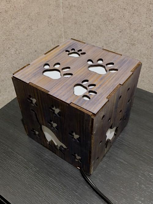 手作り木行燈(猫模様)