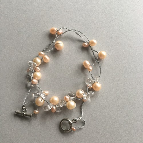 Pearl&crystal , necklace (orange)