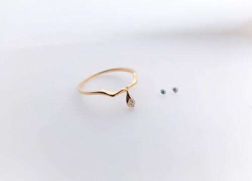 liscio silver (k18plating) ring*キュービックジルコニア*(素材変更可能)