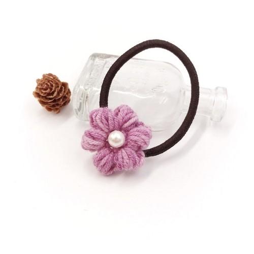 段染め小花のウールヘアゴム*パープル