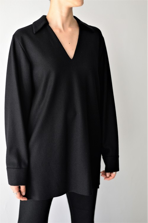 UNDECORATED / S140 KNIT WOOL TOP (black)