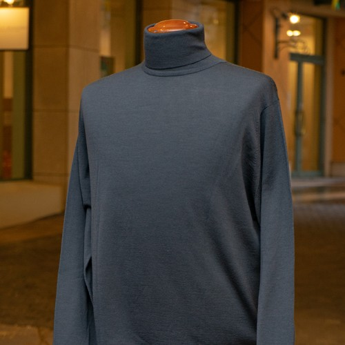 NEW JOHN SMEDLEY WOOL TURTLENECK SWEATER SLTE GREY