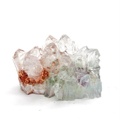 水晶クラスター型オルゴナイト フローライト