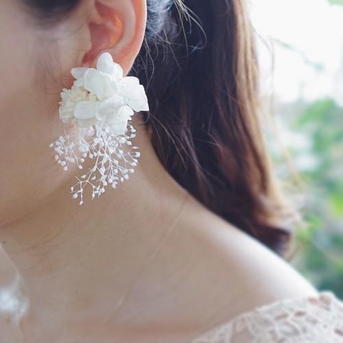 ボタニカルピアス【long】✲ 花ピアス ブライダルアクセサリー ウェディング 結婚式 ピアス