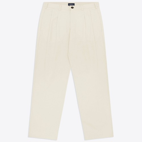 Double Pleat Herringbone Trouser(Natural)