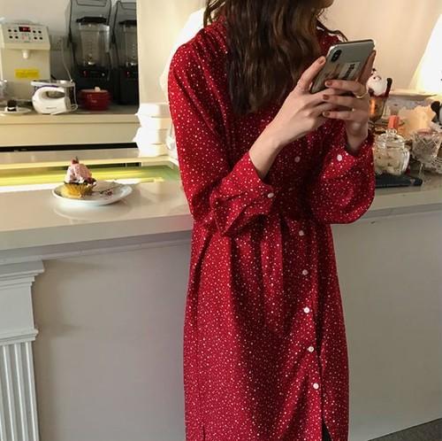 ワンピースドレス ドット柄 ワンピース 前ボタン 羽織り キュート 大人可愛い フェミニン デート リボン ウエストベルト レッド
