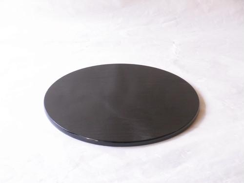 日本製 木製 丸香台(花台)桐一枚板 掻合せ 黒 上