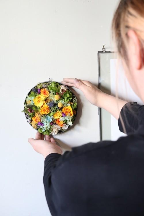 Preserved flower plate arrange L-[YAMABUKI]送料込